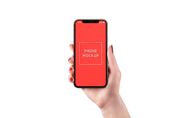 Isolated modern phone mockup in woman hand. front position. smart object display for app design presentation.