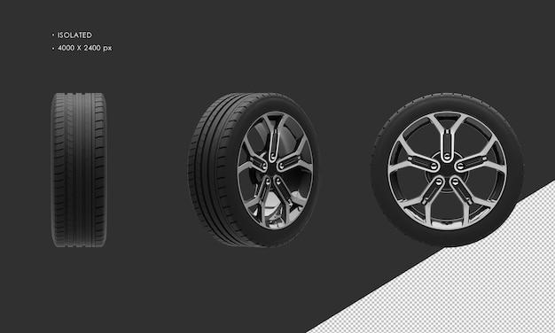 分離された現代のスポーツシティカーブラックとグレーのクロームカーホイールリムとタイヤ