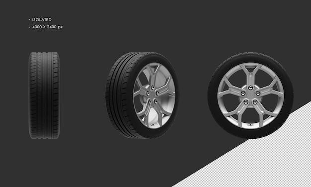分離された現代のスポーツシティカーグレークロームカーホイールリムとタイヤ
