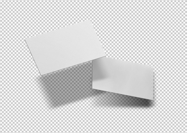 Isolated pack of floating business cards
