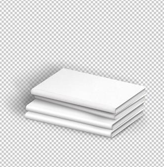 네 개의 흰색 책의 고립 된 팩