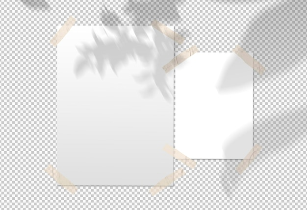 Isolated pack of white posters with tape and shadow