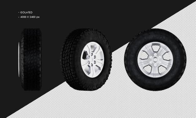 分離されたピックアップトラックのホイールカーのリムとタイヤ