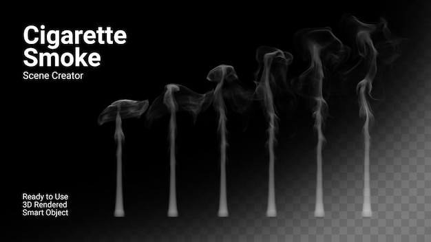 담배 연기의 고립 된 현실적인 세트