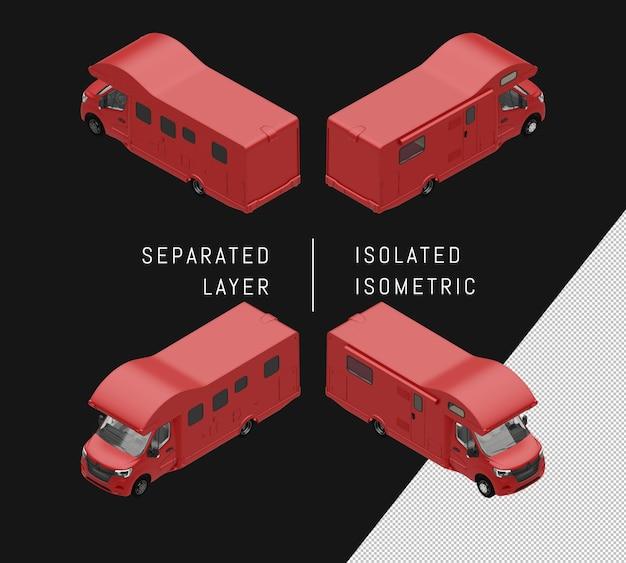 孤立した赤いキャンピングカーヴァンアイソメトリックカーセット