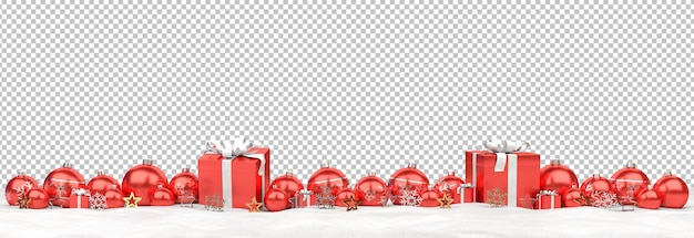 Isolated red christmas baubles and gifts on snow