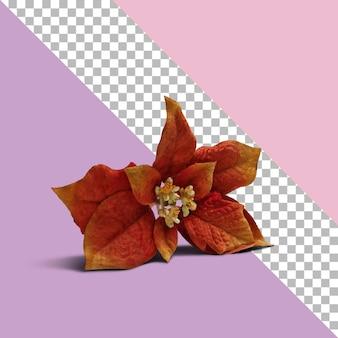 透明な背景を持つ孤立した赤い造花。