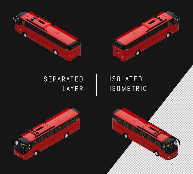 孤立した赤い近代都市バス等尺性車両セット