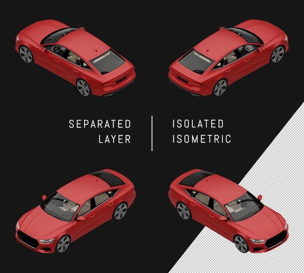 分離された赤のモダンなスポーツシティカーアイソメトリックカーセット