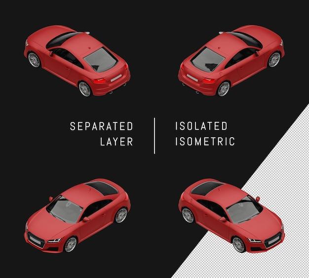 격리 된 빨간색 현대 스포츠 도시 자동차 아이소메트릭 자동차 세트