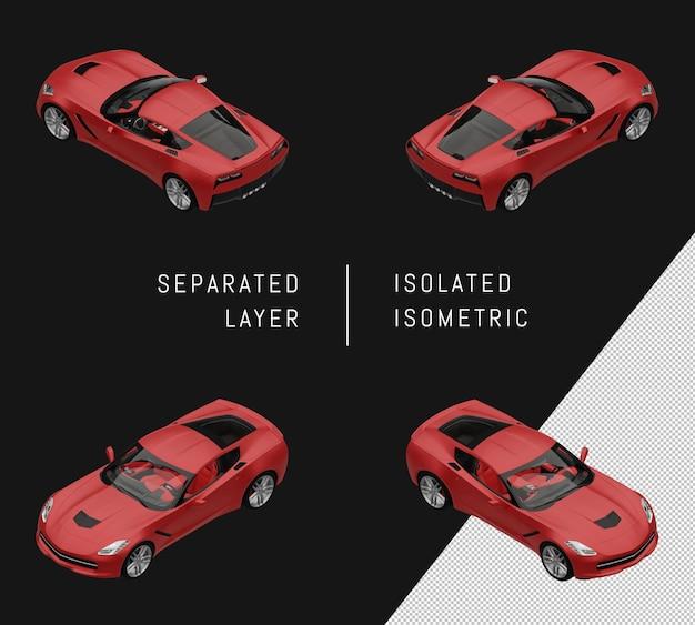分離された赤のモダンなスーパースポーツカーアイソメトリックカーセット