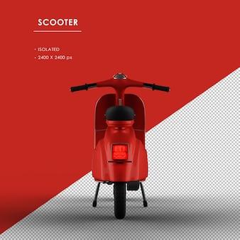 背面から分離された赤いスクーター