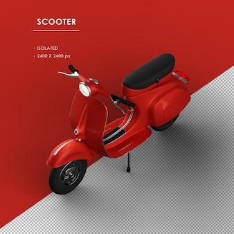 左上の正面図から分離された赤いスクーター