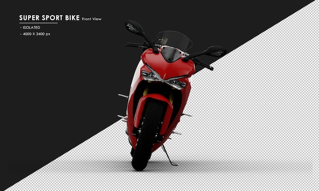 Isolated red super sport bike side stand from front view