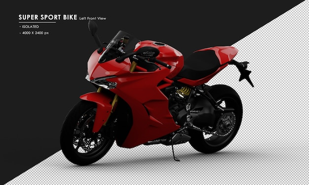 Isolated red super sport bike side stand from left front view