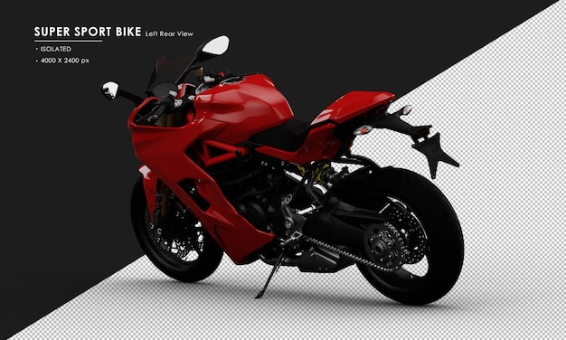 Isolated red super sport bike side stand from left rear view