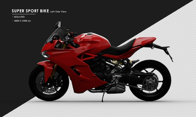 Isolated red super sport bike side stand from left side view