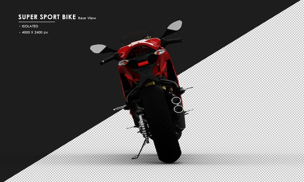 Isolated red super sport bike side stand from rear view