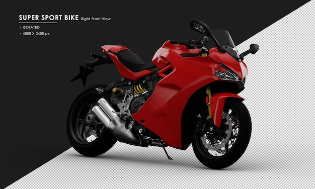 Isolated red super sport bike side stand from right front view