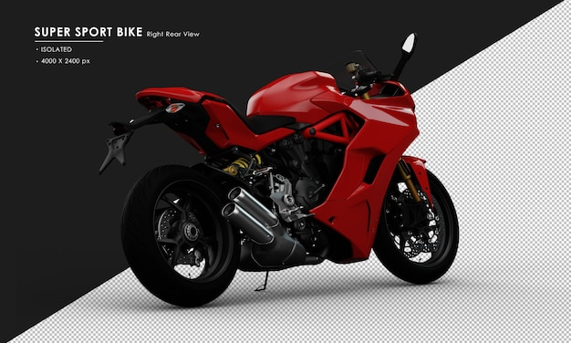 Isolated red super sport bike side stand from right rear view