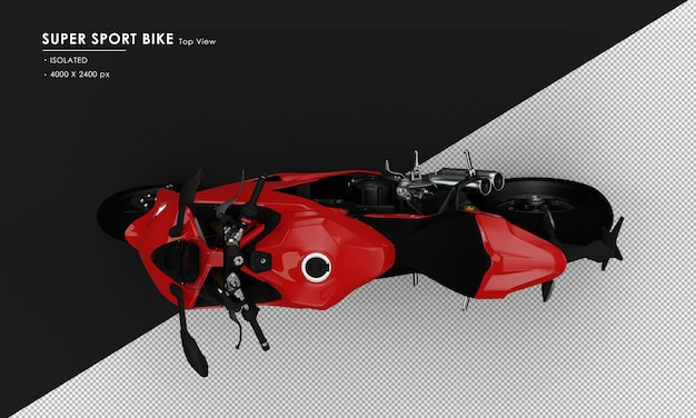 Isolated red super sport bike side stand from top view
