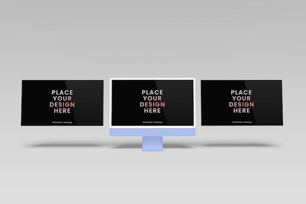 分離されたレスポンシブ画面のデスクトップモックアップ
