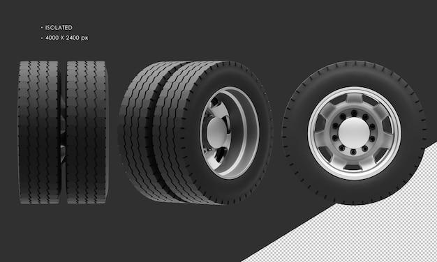 分離されたセミトレーラートラックの後輪のリムとタイヤ