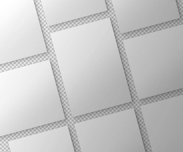 Set isolato di poster su superficie