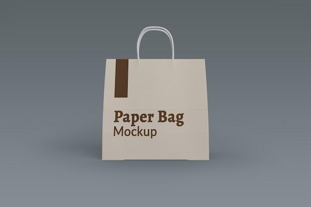 Изолированный макет бумажного пакета для покупок