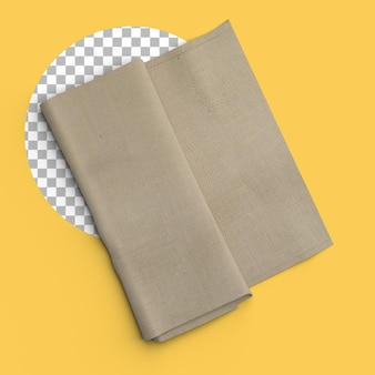 Isolated shot of folded brown napkin on transparent background