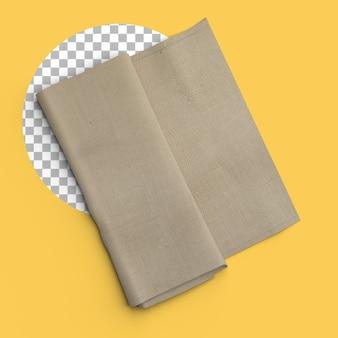 透明な背景に折り畳まれた茶色のナプキンの孤立したショット