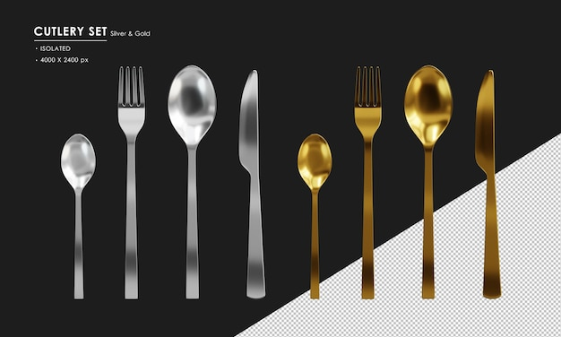 Isolated silver and gold cutlery set  spoon tea spoon fork and knife