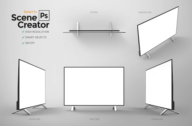 Isolated smart tv. monitor for home or office entertainment.