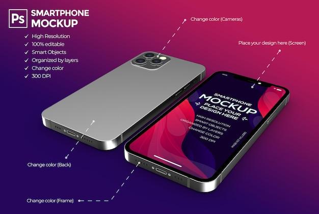 分離されたスマートフォンの3dモックアップデザイン