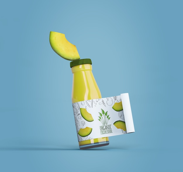 Isolated smoothie packaging on blue background