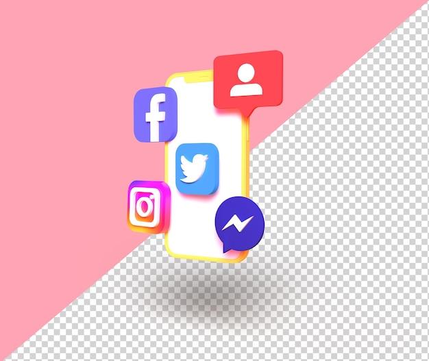 편집 가능한 배경이 있는 격리된 소셜 미디어 3d 요소