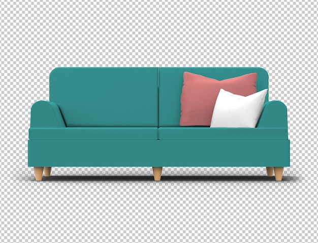 Isolated sofa. fabric, turquoise green color