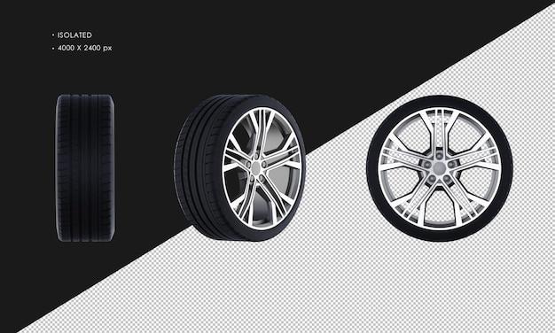 Изолированные обода колеса спортивного автомобиля и шины