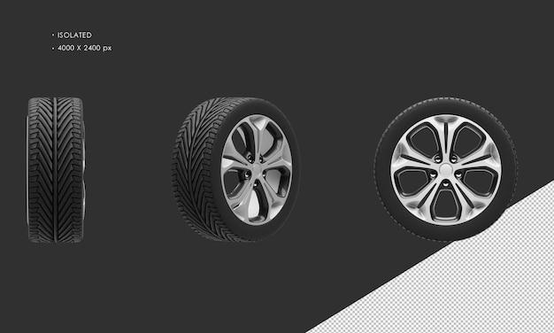 分離されたスポーツシティカーブラックとグレーのクロームカーホイールリムとタイヤ