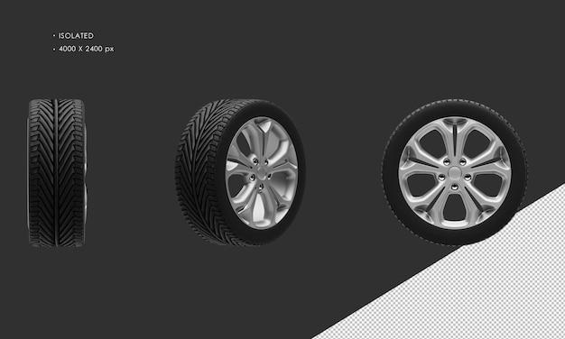 分離されたスポーツシティカーグレークロームカーホイールリムとタイヤ