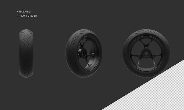 分離されたスーパースポーツバイクオートバイダーククロームリアホイールリムとタイヤ