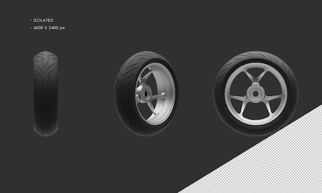 分離されたスーパースポーツバイクオートバイグレークロームリアホイールリムとタイヤ