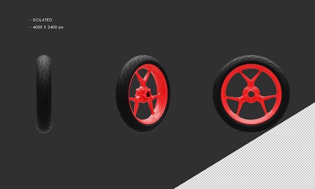 分離されたスーパースポーツバイクオートバイ赤いペイントフロントホイールリムとタイヤ