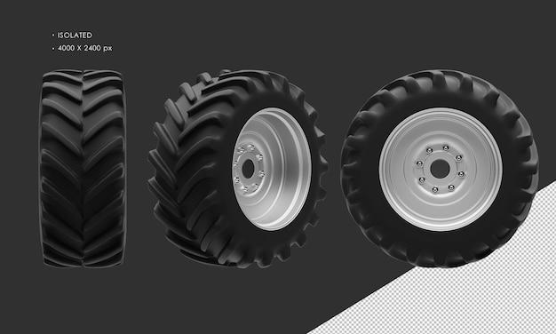 分離されたトラクターの前輪のリムとタイヤ