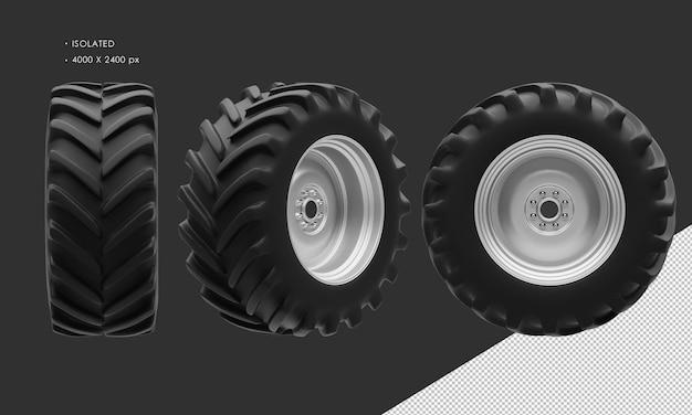 分離されたトラクターの後輪のリムとタイヤ