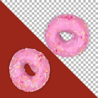 유약으로 격리 된 두 개의 분홍색 도넛