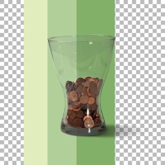 Изолированная ваза с монетами и деньгами
