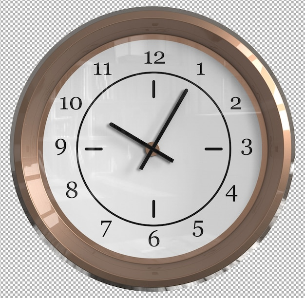 Isolated wall clock. cream metal. nice furniture for interior. transparent background. front isometric view. premium 3d.