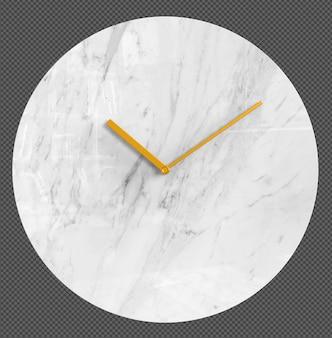 Изолированные настенные часы. мраморные часы. хорошая мебель для интерьера. прозрачный фон. фронт изометрическая проекция. премиум 3d.