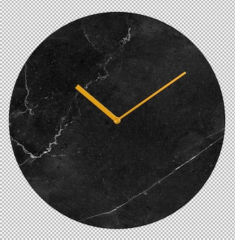 Isolated wall clock. marble clock. nice furniture for interior. transparent background. front isometric view. premium 3d.